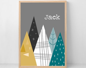 Mountains Personalised Bedroom Wall Print