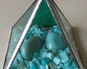 Large Stained glass & Amazonite  prism/pyramid