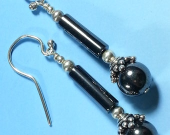 Pretty Hematite and Sterling Silver Earrings