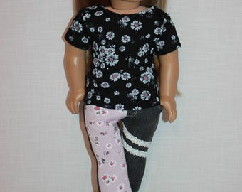 18 inch doll clothes,  floral print short sleeve shirt, grey denim skinny jeans with overlay, Upbeat Petites