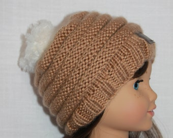 18 inch doll clothes, handknit  beanie hat with faux fur topper , Upbeat Petites