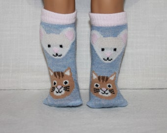 18 inch doll clothes, cat and mouse print knee high doll socks, unisex doll socks, Upbeat Petites