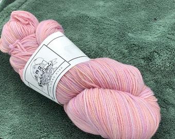 "Naturally Dyed Superwash wool sock yarn ""Strawberry Wine"""