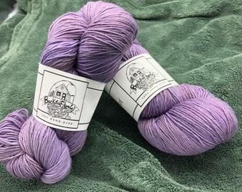 "Naturally Dyed Superwash wool sock yarn ""Purple Rain"""