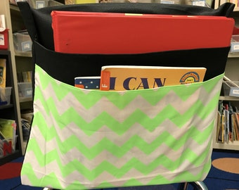 1 NEON 2 Pocket Chair Pocket Seat Desk Sack Washable Colored Duck Cloth  With A Neon Chevron Print Chair Pocket Factory