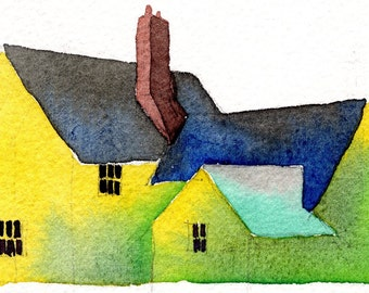 English Cottage 1-Print from an original watercolor painting