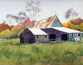 Barn in Fall-Print from an original watercolor painting