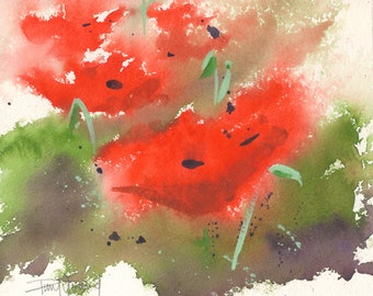 Poppies-Print from an original watercolor painting