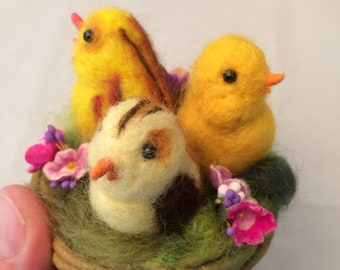 Needle Felted and spun cotton  Nest of chicks birds feather tree clip ornament