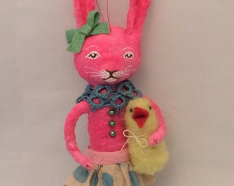 Spun Cotton Pink Bunny Rabbit with chick feather tree ornament by Maria Paula