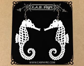 READY MADE SALE - Seahorse Earrings - White Seahorse - Laser Cut Acrylic Seahorse Earrings