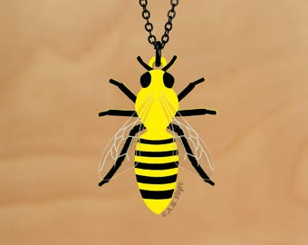 READY MADE SALE - The Bee's Knees - Bee Necklace - Laser Cut Necklace (C.A.B. Fayre Original Design)