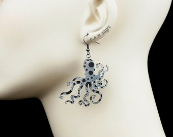 An Octopus Love Affair Earrings - Ink Splatter Octopus Earrings - Laser Cut Acrylic (C.A.B. Fayre Original Design)