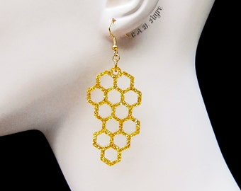 Honeycomb Earrings - The Bee's Knees Collection - Bee Earrings - Laser Cut Earrings (C.A.B. Fayre Original Design)