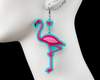"Flamingo Earrings / Large 3.5"" / Laser Cut Acrylic Flamingo Earrings with Heart Charm (C.A.B. Fayre Original Design)"