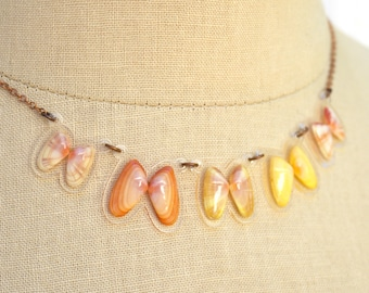 READY MADE SALE - Coquina Shell Necklace - Shell Necklace - Florida Seashell Beach Mermaid Jewelry - Coral, Orange, Yellow