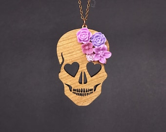 "Blooming Love Skull Necklace - LARGE 3""- Cherry Wood Skull with Purple Flowers (C.A.B. Fayre Original Design)"