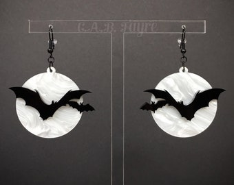 Over the Moon Bat Earrings - White Pearl Marble Moon, Black Bats - Acrylic Laser Cut Earrings (C.A.B. Fayre Original Design)