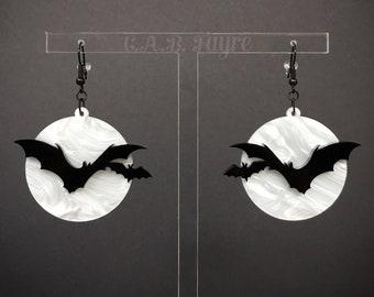 Over the Moon Bat Earrings - White Pearl Marble Moon, Black Bats - Acrylic Laser Cut Earrings (C.A.B. Fayre Original Design)