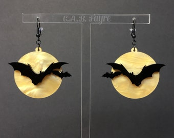 Over the Moon Bat Earrings - Gold Pearl Marble Moon, Black Bats - Acrylic Laser Cut Earrings (C.A.B. Fayre Original Design)
