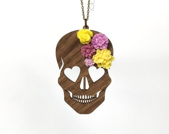 "Blooming Love Skull Necklace - LARGE 3""- Walnut Wood Skull with Purple & Yellow Flowers (C.A.B. Fayre Original Design)"