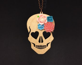 "Blooming Love Skull Necklace - LARGE 3""- Maple Wood Skull with Turqiouse & Peach Flowers (C.A.B. Fayre Original Design)"