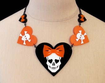 Halloween Party Necklace - The Dangerous Heart of a Smitten Girl Necklace - Skull & Heart Laser Cut Necklace (C.A.B. Fayre Original Design)