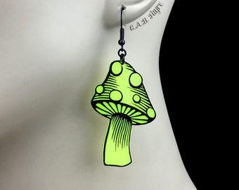 READY MADE SALE - Spotted Mushroom Earrings - Neon Yellow Acrylic Laser Cut Earrings - Mushroom Jewelry