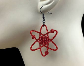 READY MADE SALE - Atomic Atom Earrings - Red Glitter Acrylic Laser Cut Earrings (C.A.B. Fayre Original Design)