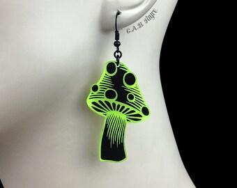 READY MADE SALE - Spotted Mushroom Earrings - Black & Neon Yellow Acrylic Laser Cut Earrings - Mushroom Jewelry