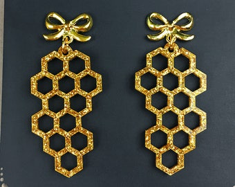 READY MADE SALE - Honeycomb Earrings - The Bee's Knees Collection - Gold Glitter Acrylic Laser Cut Earrings (C.A.B. Fayre Original Design)