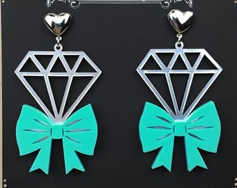 READY MADE SALE - Tie It With A Bow Diamond Earrings - Turquoise & SIlver Metallic Laser Cut Earrings (C.A.B. Fayre Original Design)