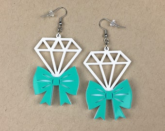 READY MADE SALE - Tie It With A Bow Diamond Earrings - Turquoise & White Laser Cut Earrings (C.A.B. Fayre Original Design)