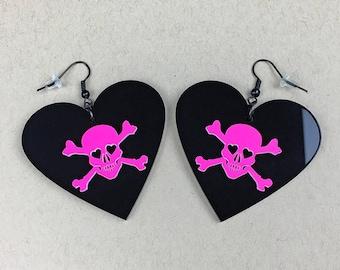 READY MADE SALE - Dangerous Heart of a Smitten Girl Earrings - Black and Neon Hot Pink Heart Skull Earrings (C.A.B. Fayre Original Design)