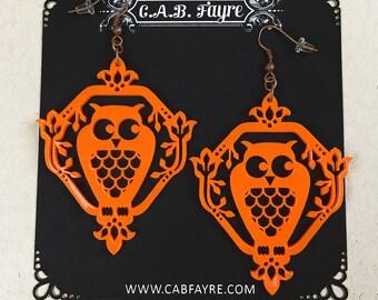 READY MADE SALE - Whimsical Owl Earrings - Sunset Orange Owl - Laser Cut Acrylic Owl Earrings