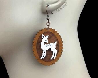 READY MADE SALE - Doe-Eyed Deer Earrings - Cherry Wood & White Acrylic Laser Cut Earrings (C.A.B. Fayre Original Design)