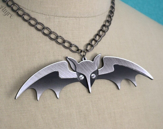 """Featured listing image: Lily Munster Bat Necklace (Large 6"""") - Laser Cut Necklace - Lily Munster Halloween Costume Necklace"""