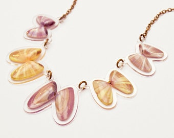 READY MADE SALE - Coquina Shell Necklace - Shell Necklace - Florida Seashell Beach Mermaid Jewelry - Purple & Pastel Yellow