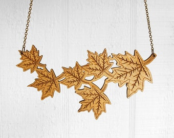Wooden Autumn Maple Leaves Necklace (C.A.B. Fayre Original Design)