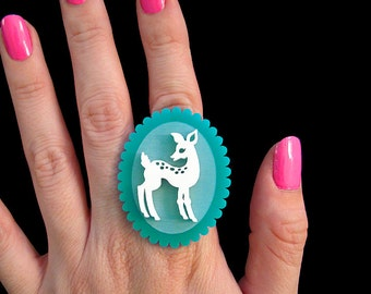 Doe-Eyed Deer Ring - Adjustable - Acrylic Laser Cut (C.A.B. Fayre Original Design)
