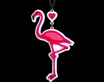 "A Flamingo Love Affair Necklace - Large 3.5"" Pink Flamingo - Laser Cut Necklace (C.A.B. Fayre Original Design)"