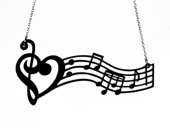 Music is the Medicine of the Breaking Heart Necklace - Acrylic Music Notes (C.A.B. Fayre Original Design)