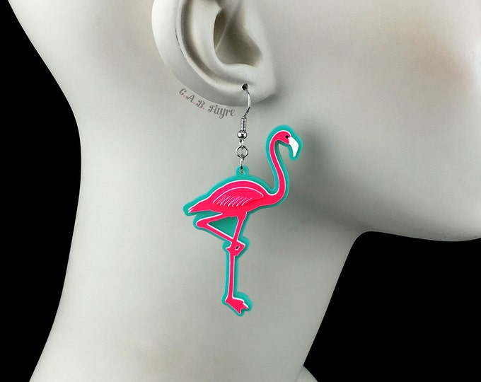 Featured listing image: Neon Hot Pink Flamingo Earrings / Laser Cut Acrylic Flamingo Earrings (C.A.B. Fayre Original Design)