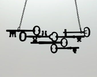 Skeleton Keys Necklace - Silhouette Necklace - Laser Cut Acrylic (C.A.B. Fayre Original Design)