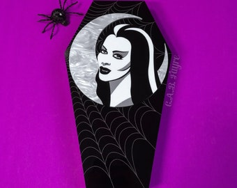 Lily Munster Coffin Box - Laser Cut Acrylic Keepsake Box - Lily Munster Halloween Jewelry Box - Coffin Storage Box - White Pearl Marble Moon