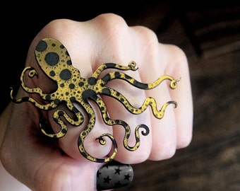 An Octopus Love Affair Ring - Ink Splatter Gold and Black Acrylic (C.A.B. Fayre Original Design)