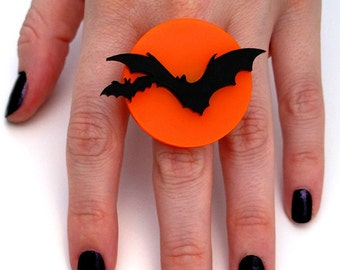 Over the Moon Bat Ring - Adjustable RIng - Acrylic Laser Cut Ring (C.A.B. Fayre Original Design)