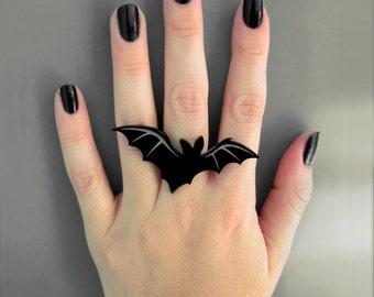 Lone Vampire Bat Ring - Laser Cut Acrylic (C.A.B. Fayre Original Design)