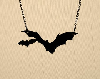 Small Bat Necklace - Laser Cut Necklace (C.A.B. Fayre Original Design)
