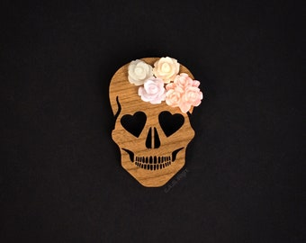 Blooming Love Skull Brooch - Laser Cut Wood Pin - Walnut Wood Heart Eyed Skull with Flowers  (C.A.B. Fayre Original Design)